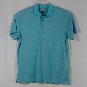 Izod golf blue stripe polo shirt men's size Large